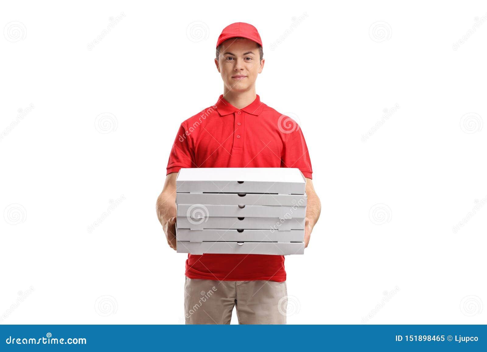 Pizzy doręczeniowa chłopiec trzyma stertę pizza boksuje
