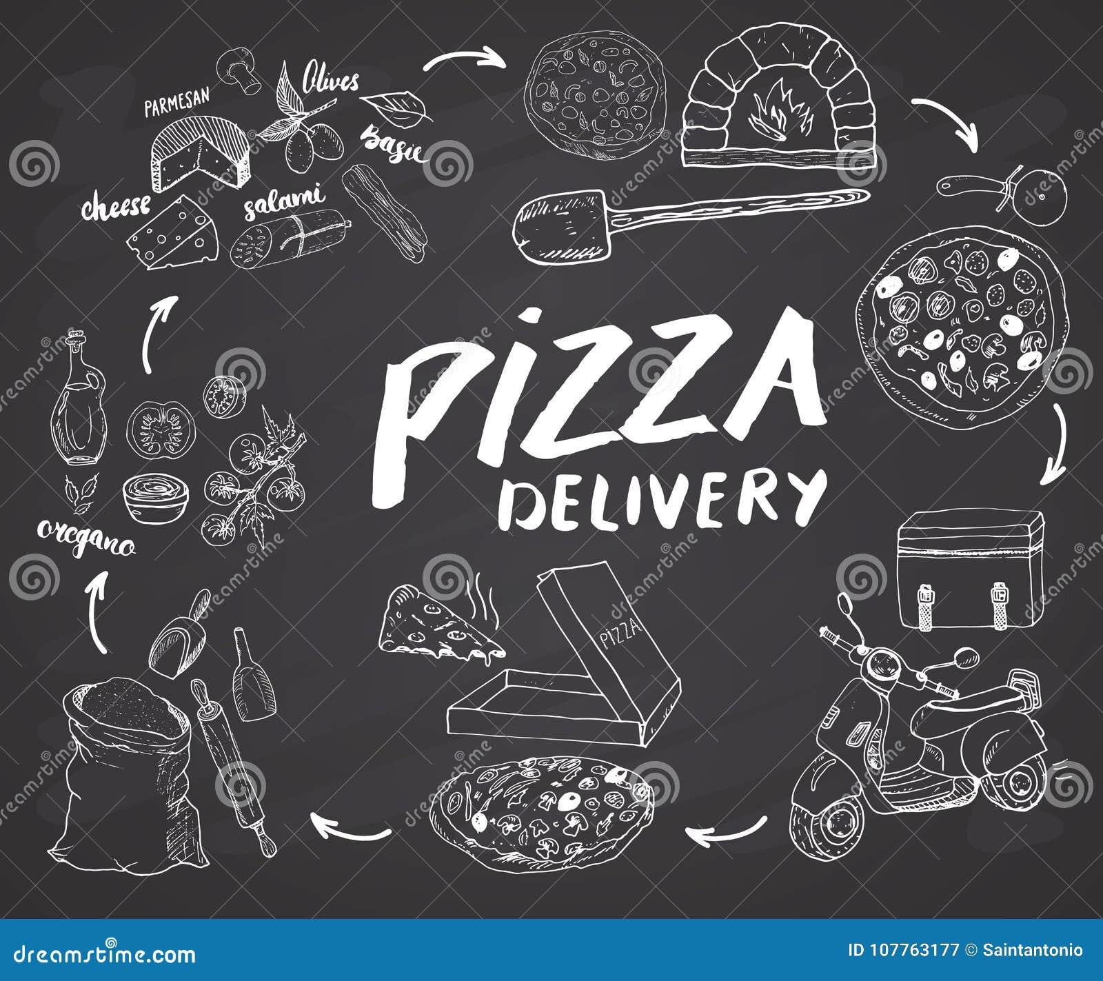 Pizzy nakreślenia ręka rysujący set Pizzy przygotowanie i dostawa proces z mąką, innymi karmowymi składniki, papierowy pudełko, p