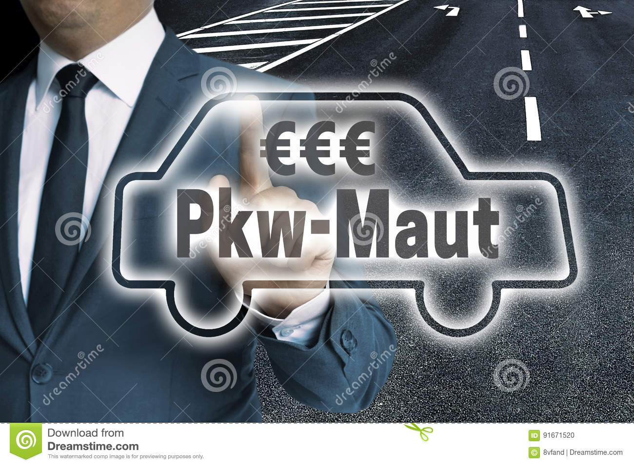 PKW-Maut in german toll car touchscreen man operated concept