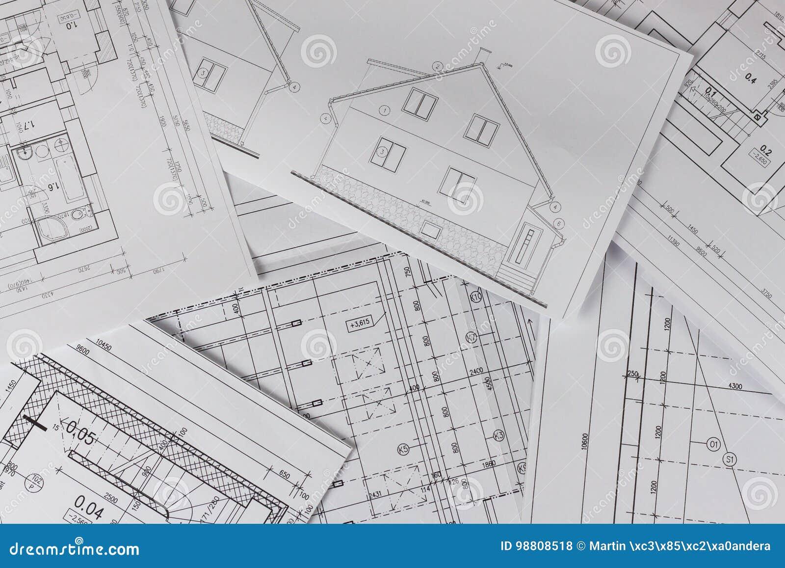 Pläne Des Gebäudes /Planen Gebäudemodell Und Entwurfswerkzeuge Auf Bau  Grundriss Entwarf Gebäude Auf Der Zeichnung Technik Und Te. Architektur,  Nahaufnahme.