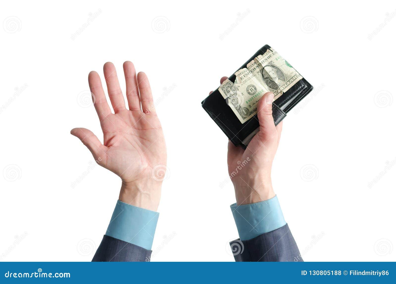 Plånbok med en dollar i händer