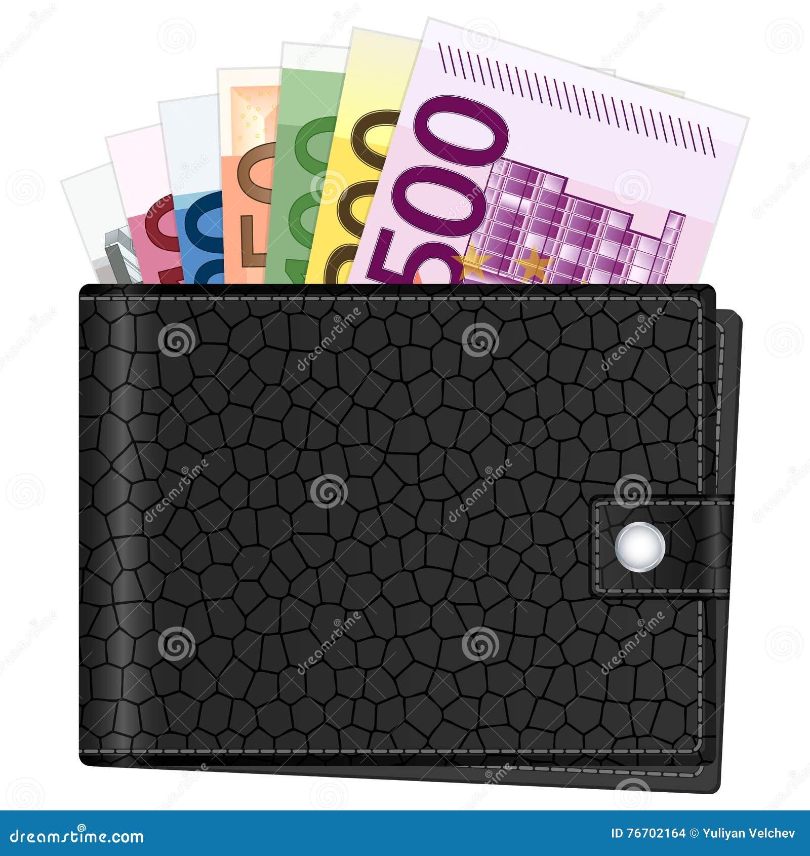 Plånbok- och eurosedlar