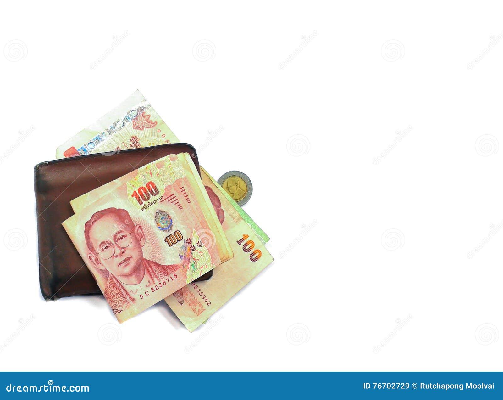 Plånbok och sedlar på vit bakgrund
