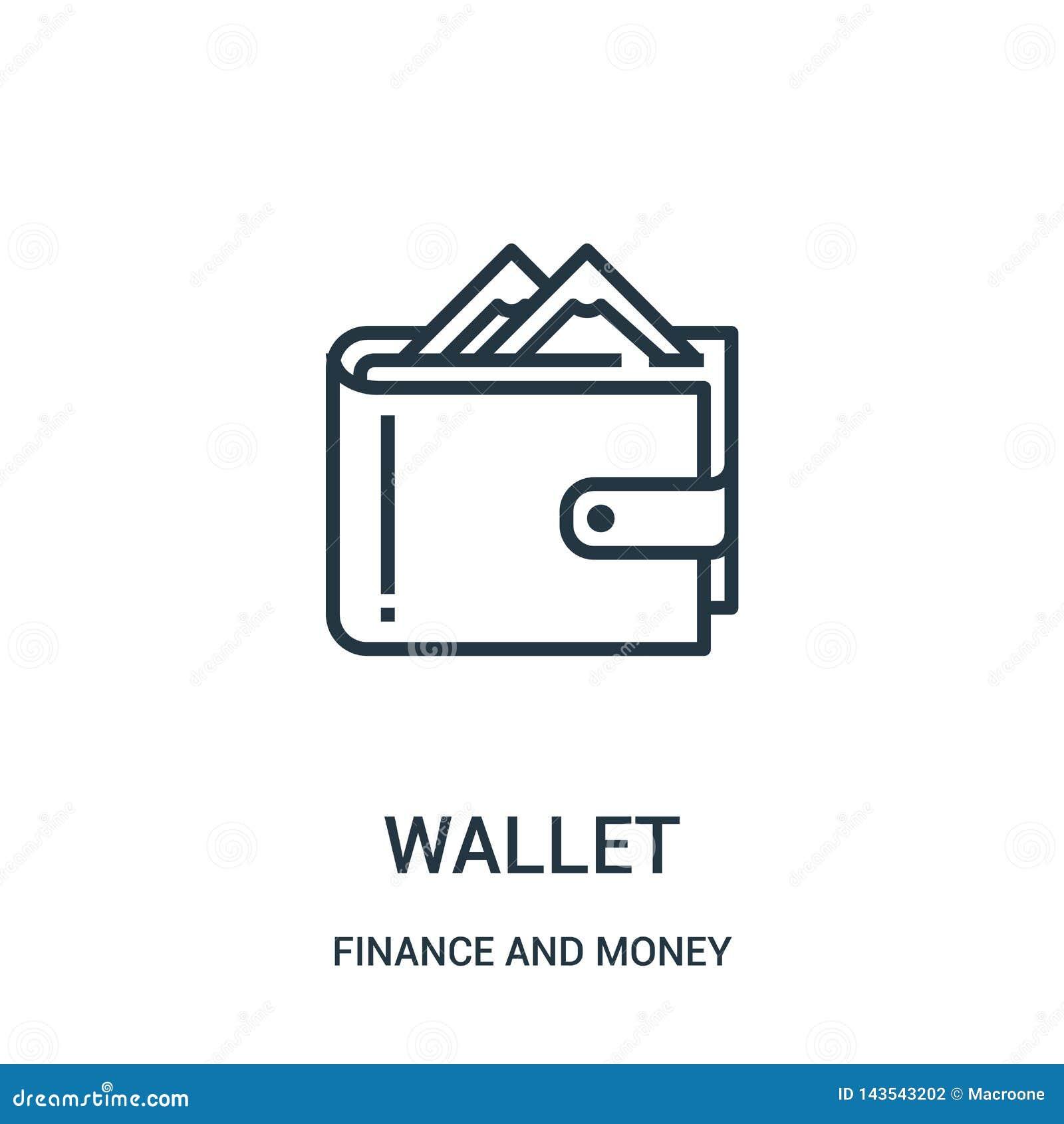 Plånboksymbolsvektor från finans och pengarsamling Tunn linje illustration f?r vektor f?r pl?nbok?versiktssymbol
