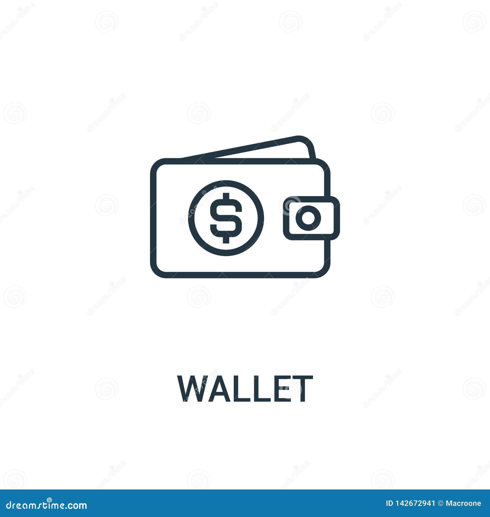 Plånboksymbolsvektor från seosamling Tunn linje illustration för vektor för plånboköversiktssymbol r