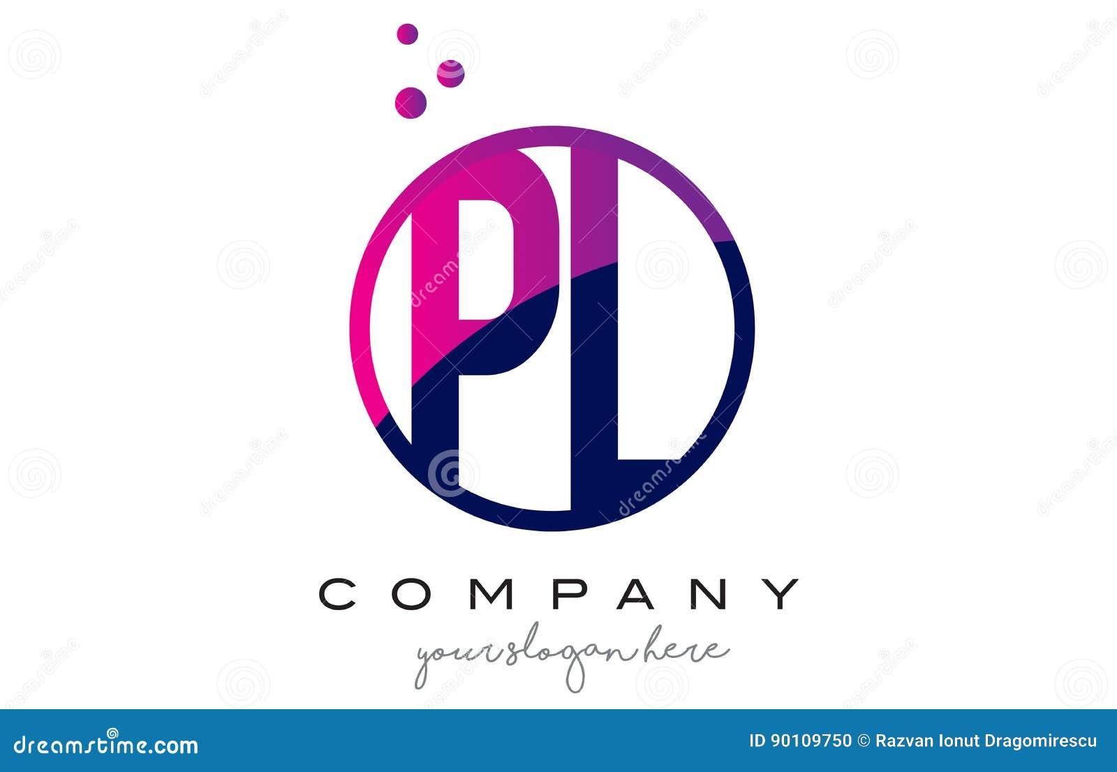 PL P L Circle Letter Logo Design with Purple Dots Bubbles