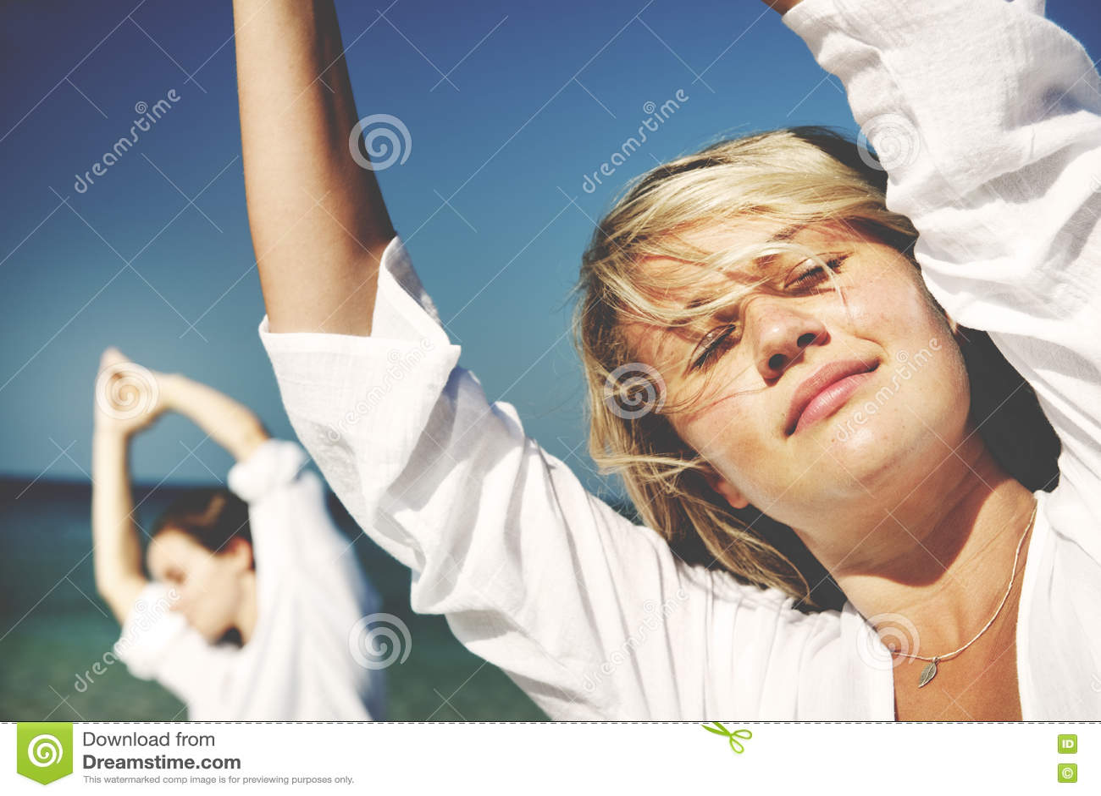 Plaża Oddycha Balansowego koncentrata relaksu pojęcie