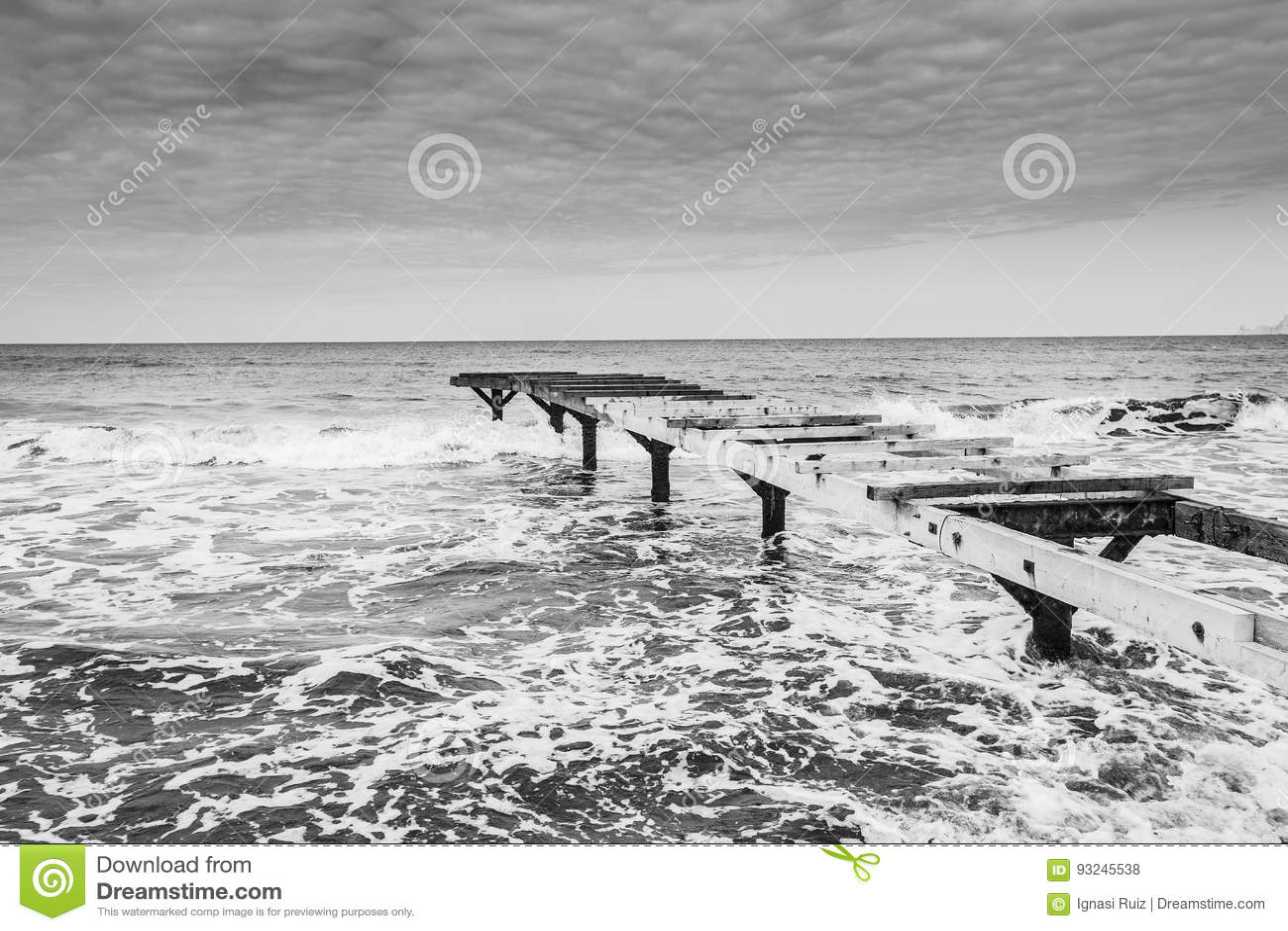 Plaża w Formentera czarny i biały