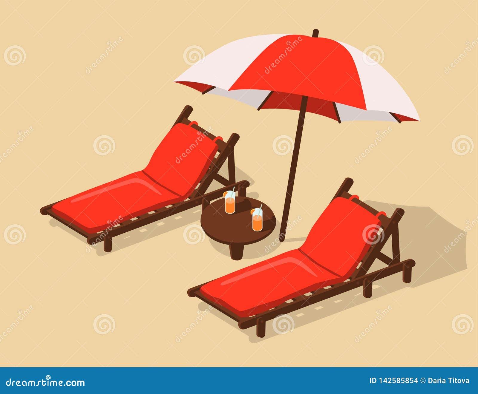 Plaża z deckchairs pod umbrell