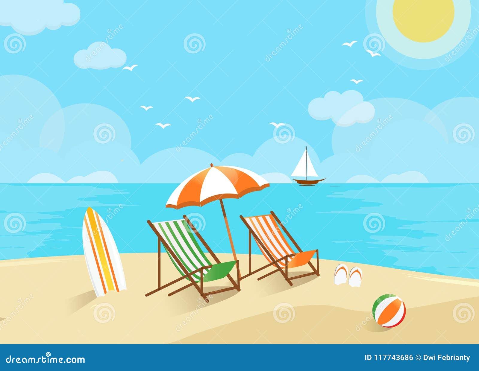 Plażowa scena, powitanie wakacje