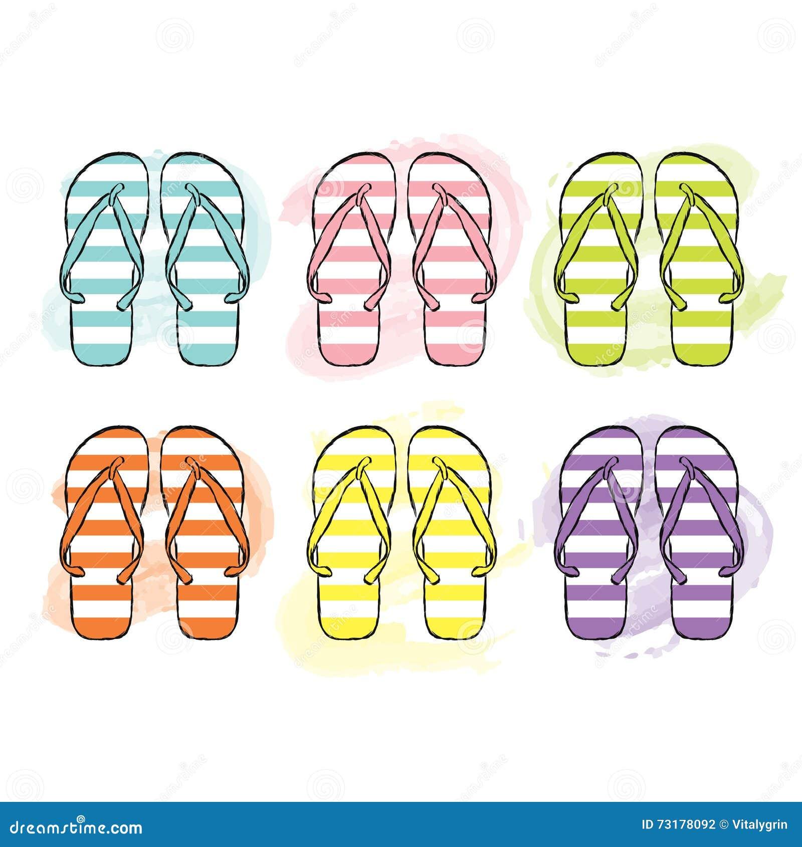 Plażowe trzepnięcie klapy w różnych kolorach również zwrócić corel ilustracji wektora Druk na odzieży, torbie lub karcie, Moda &