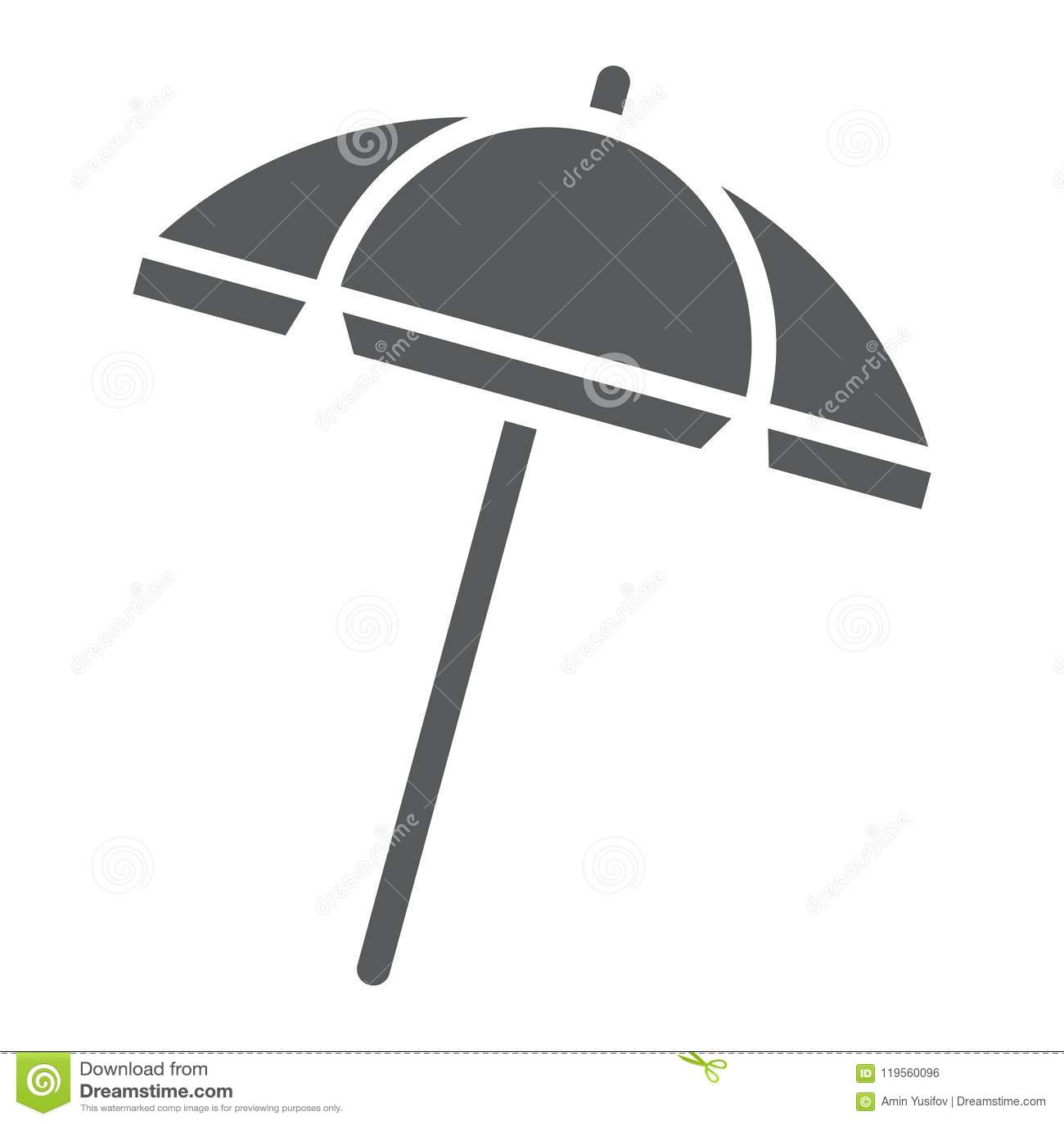 Plażowego parasola glifu ikona, podróż i parasol,