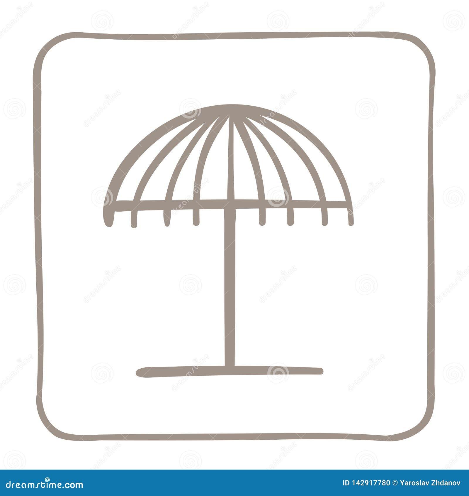 Pla?owego parasola ikona w jasnobr?zowej ramie jest mo?e projektant wektor evgeniy grafika niezale?ny kotelevskiy przedmiota oryg