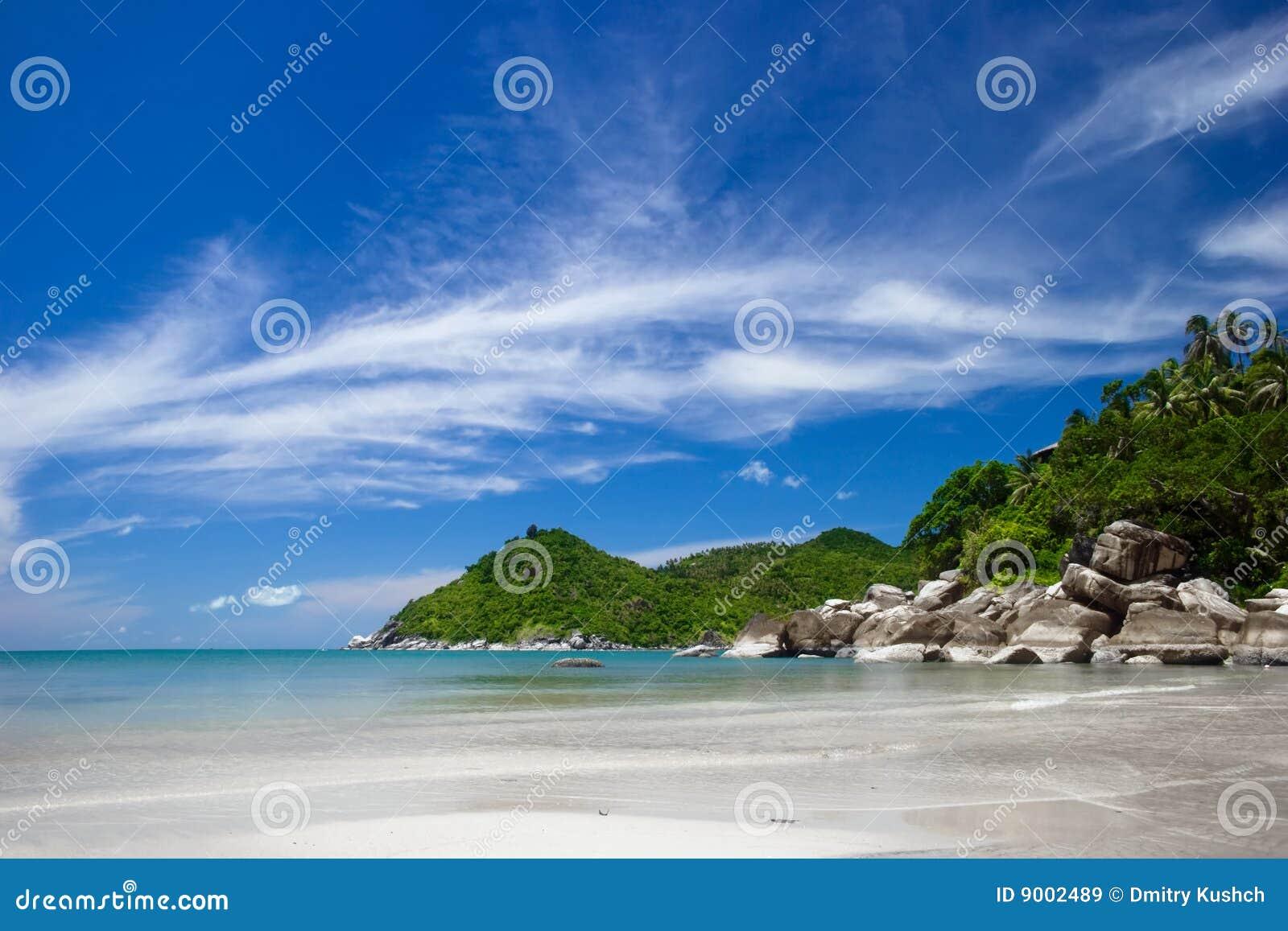 Plażowego piaska tropikalny biel