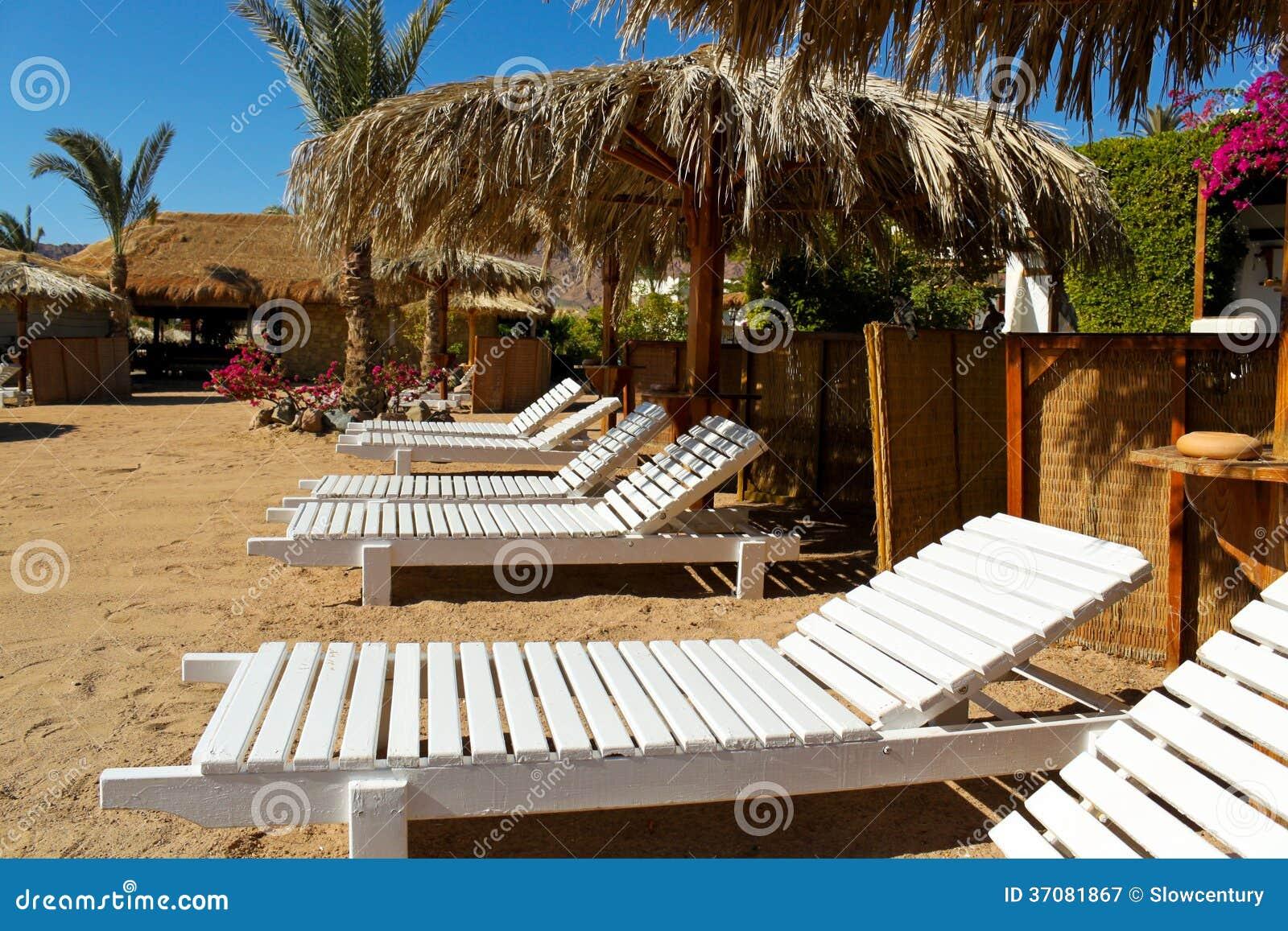 Download Plażowi łóżka w kurorcie obraz stock. Obraz złożonej z ławka - 37081867