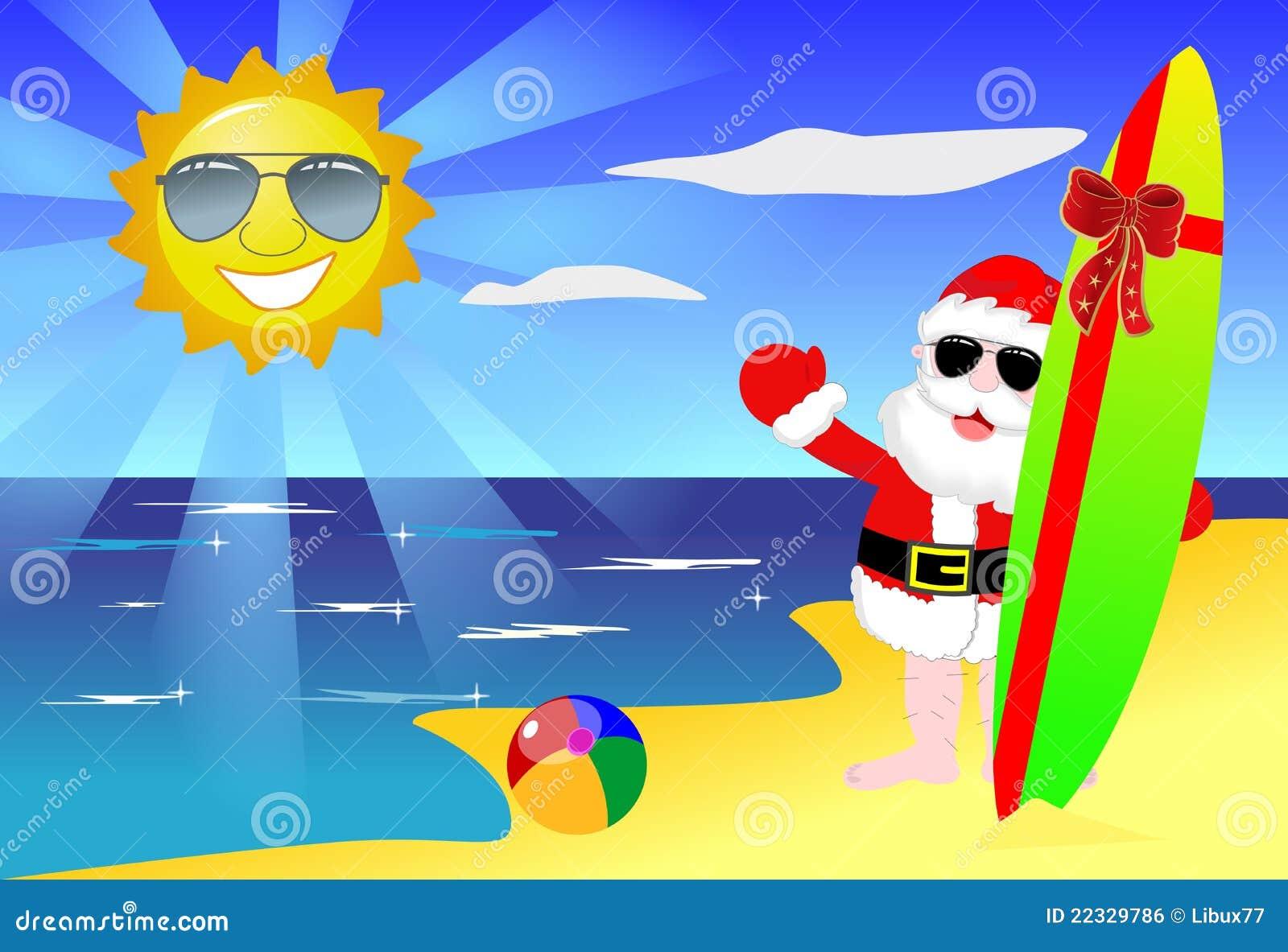 Plażowi boże narodzenia Santa