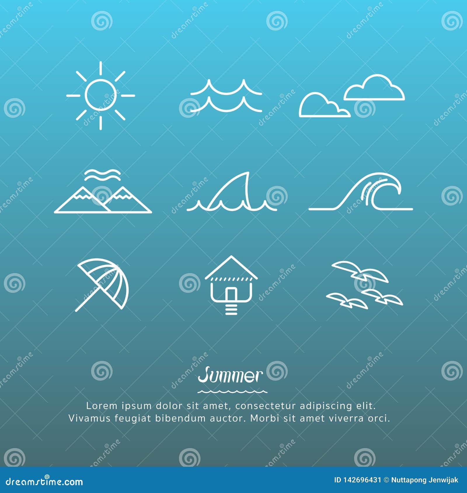 Plażowy ikona projekta set