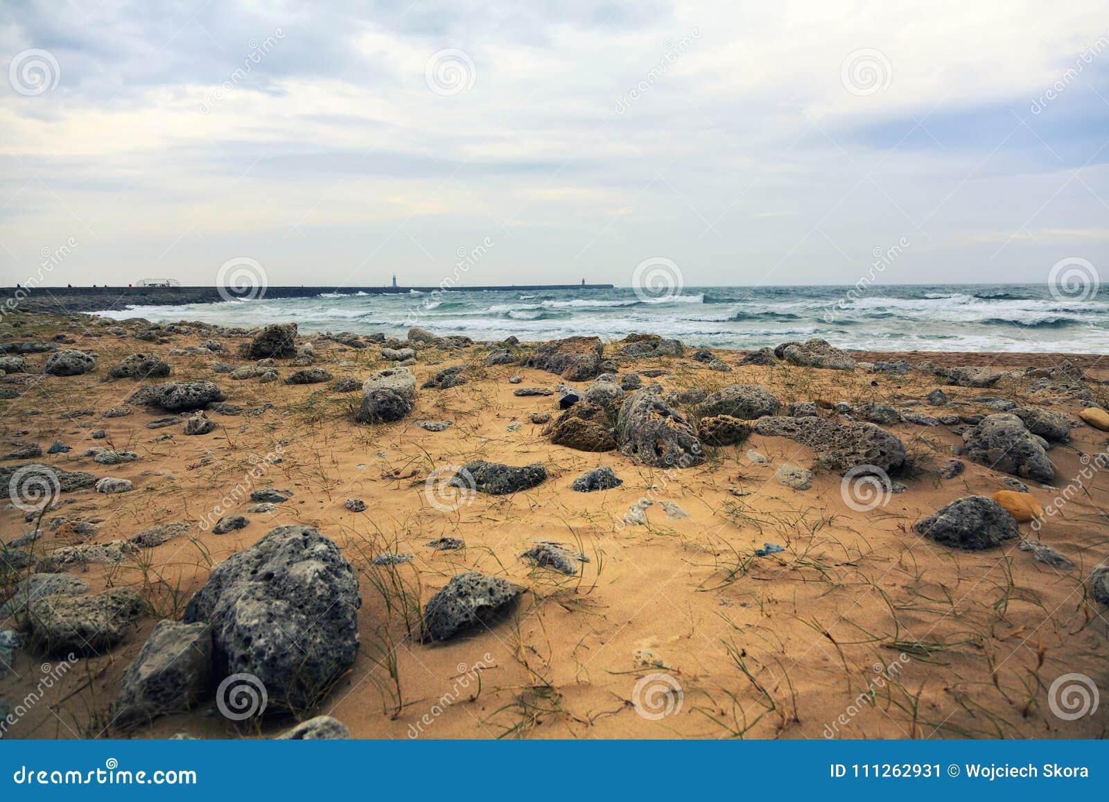 Plażowy krajobraz przy Południowymi osłonami