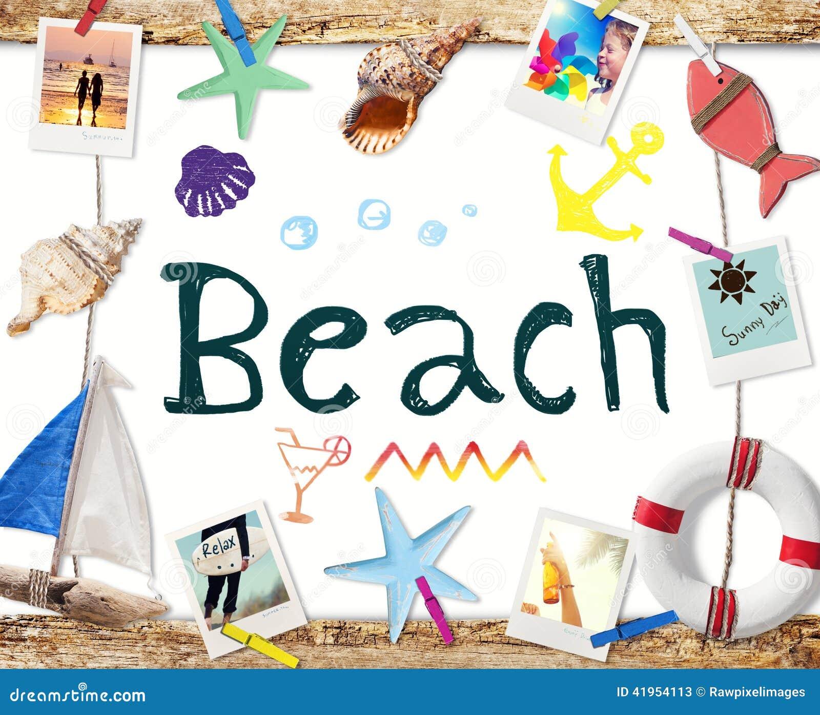 Plażowy słowo na Whiteboard z lato fotografiami i przedmiotami