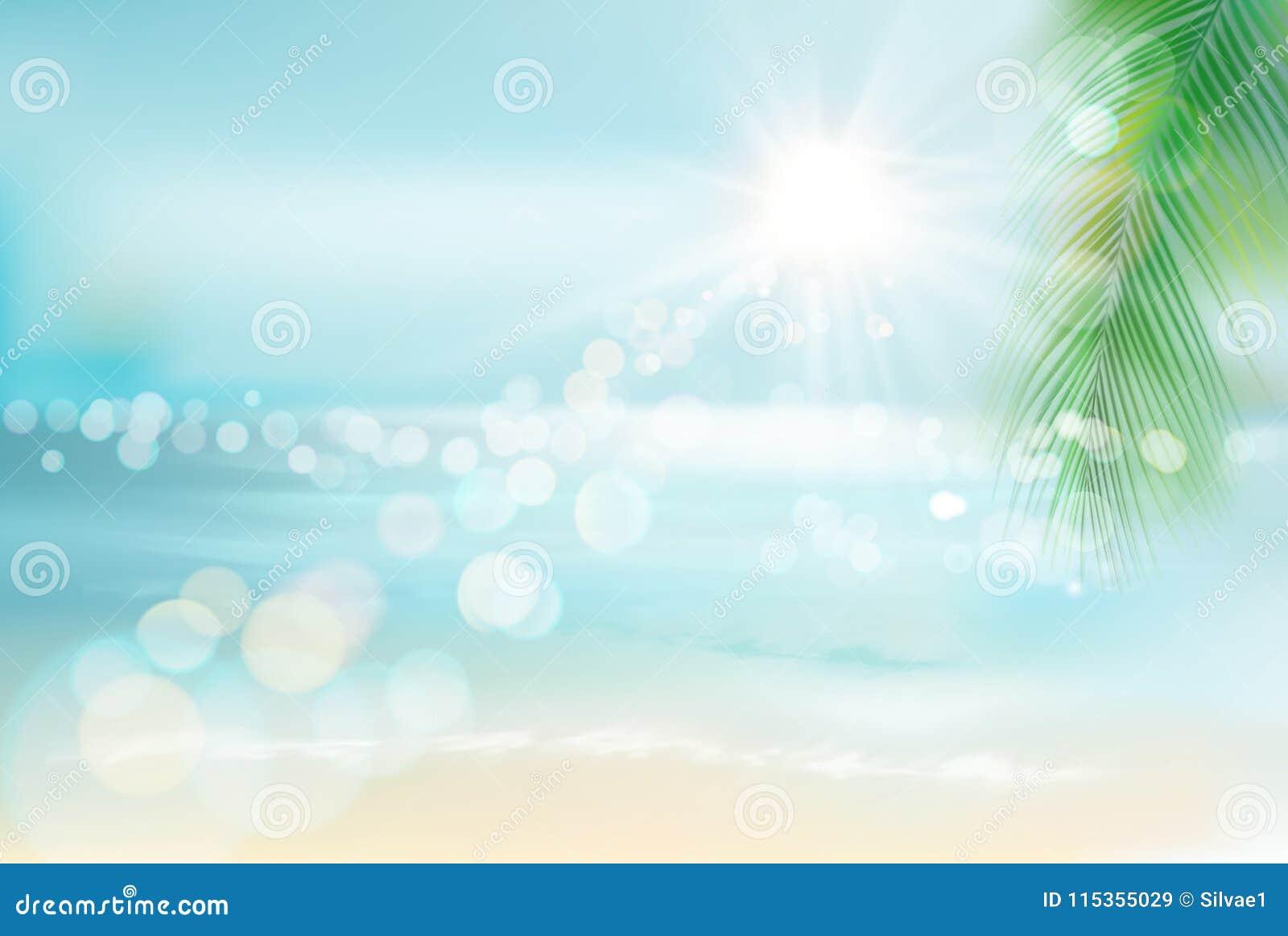 Plażowy tropikalny widok również zwrócić corel ilustracji wektora