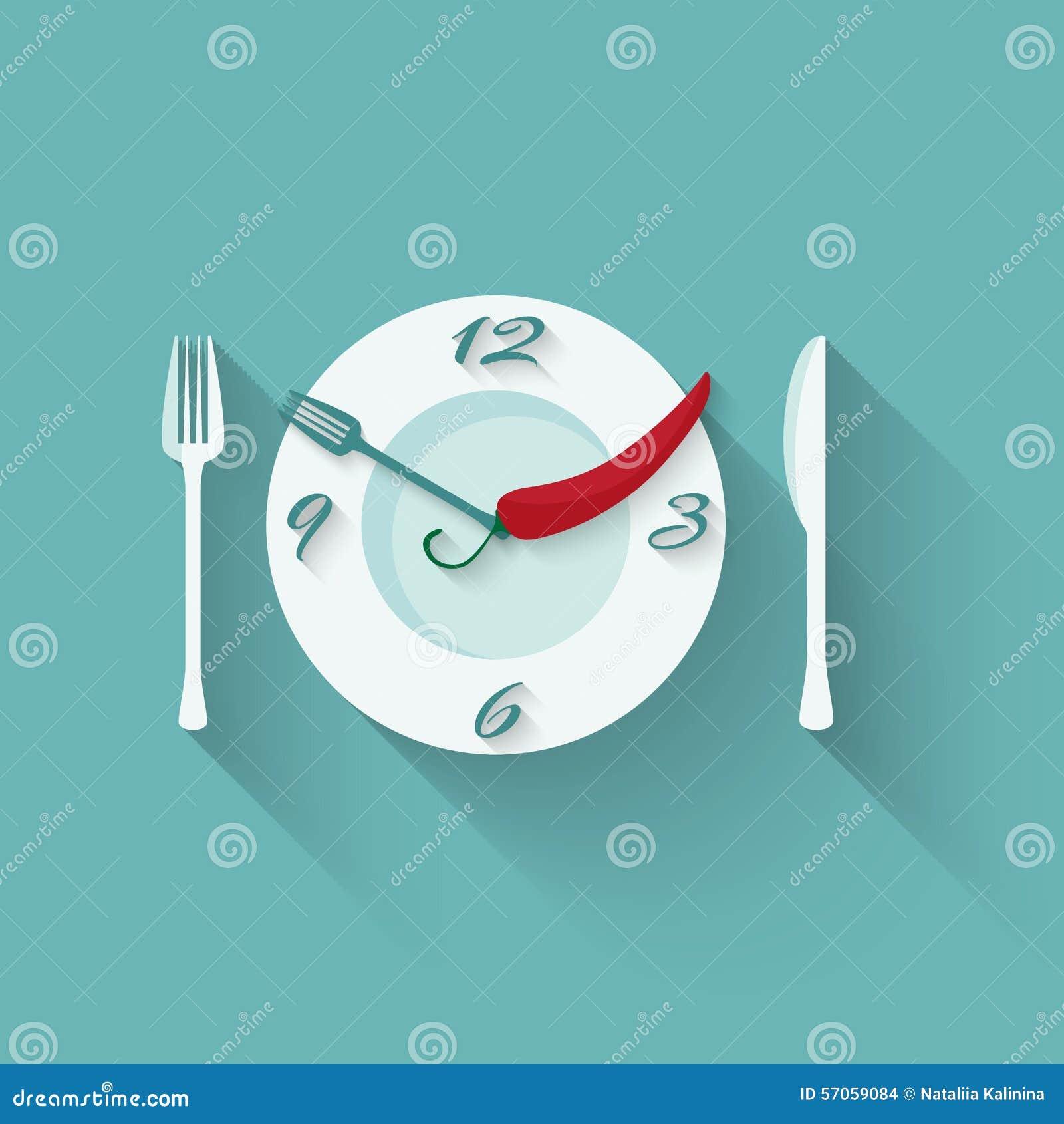Plaat met bestek - vork en mes Tijd te eten