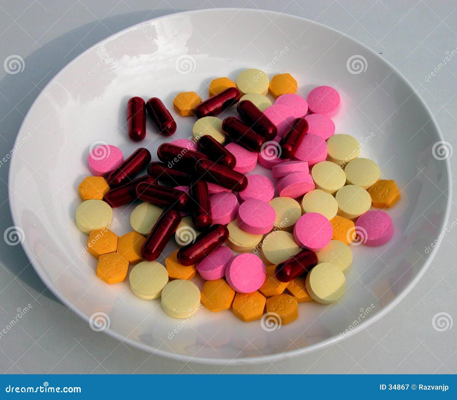 Plaat met pillen