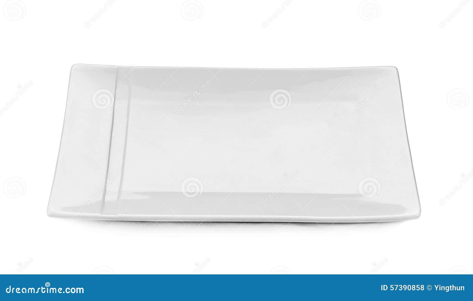 Plaat witte leeg geïsoleerd met witte achtergrond