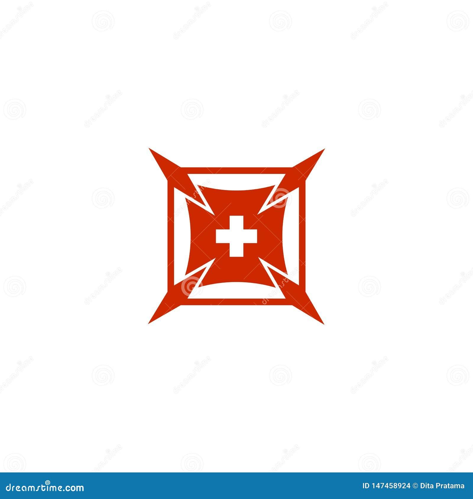 Plac Czerwony plus z symbolem w?rodku logo