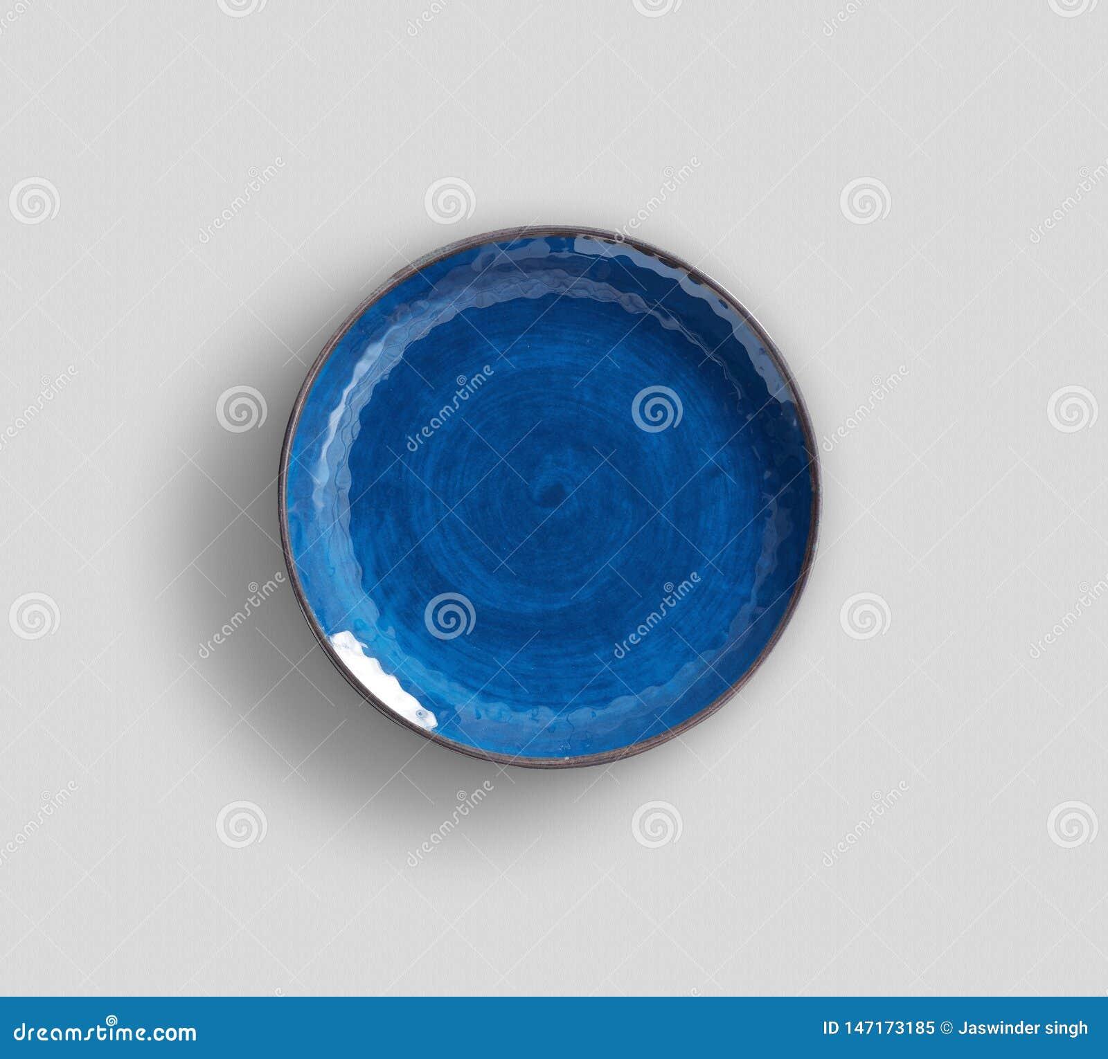 Placa azul da melamina do redemoinho com claro - fundo cinzento