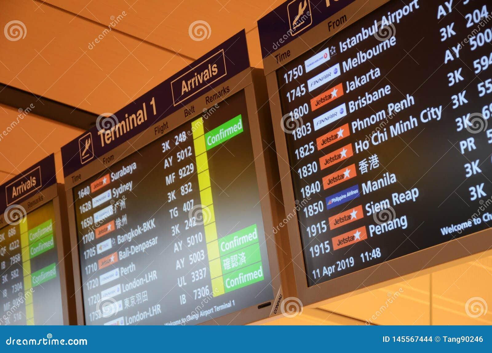 Placa da chegada no aeroporto de Changi