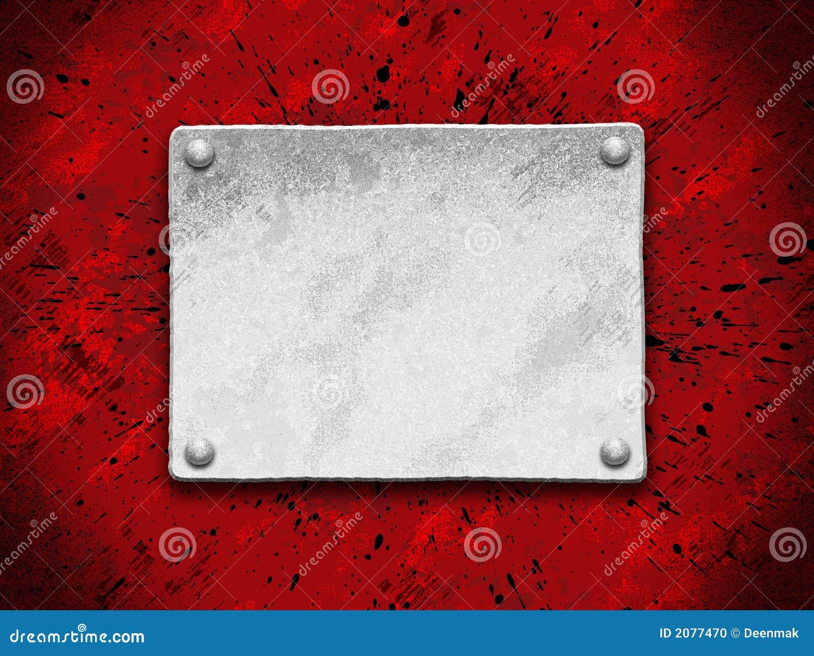 Placa de acero en un fondo rojo del grunge foto de archivo for Placa de acero