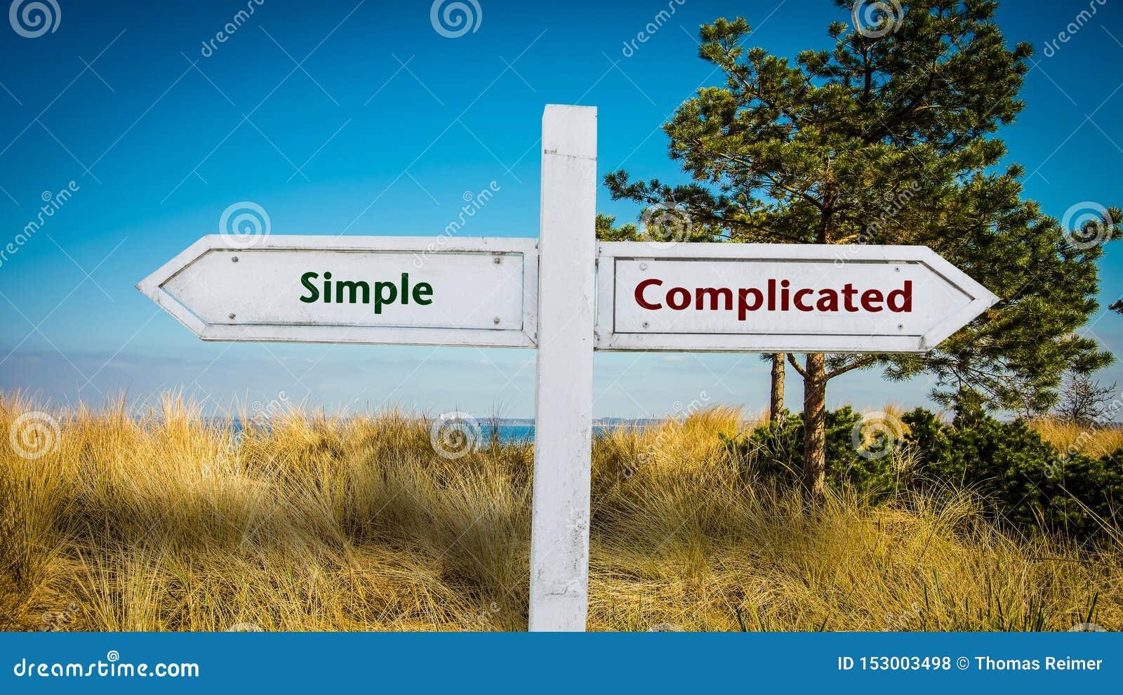 Placa de calle simple contra complicado