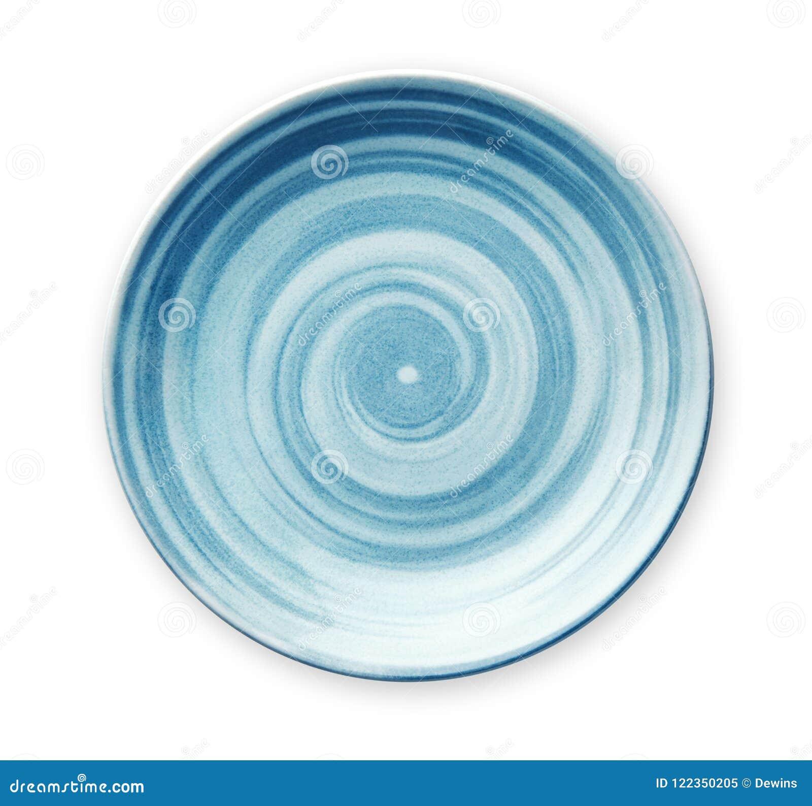 Placa de cerámica azul vacía con el modelo espiral en estilos de la acuarela, visión desde arriba aislado en el fondo blanco con