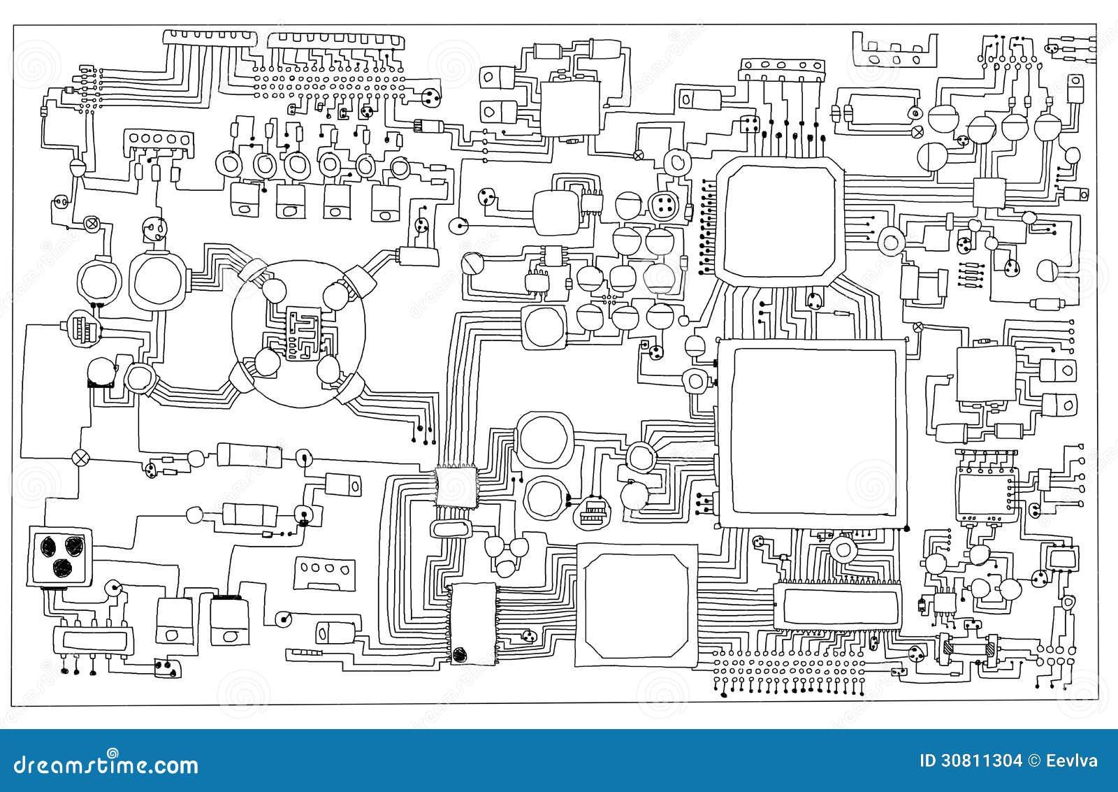 placa de circuito  stock de ilustraci u00f3n  ilustraci u00f3n de
