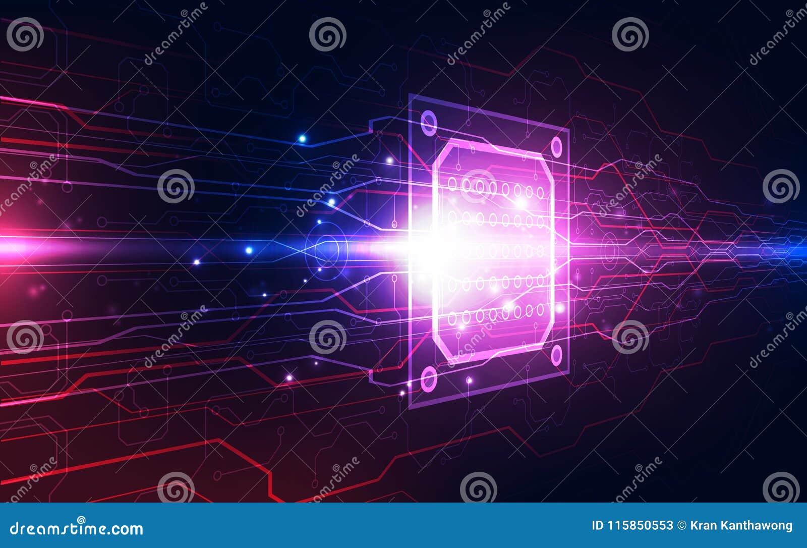 Placa de circuito abstracta del fondo del procesador del microprocesador de la tecnología y código del HTML, vector azul del fond