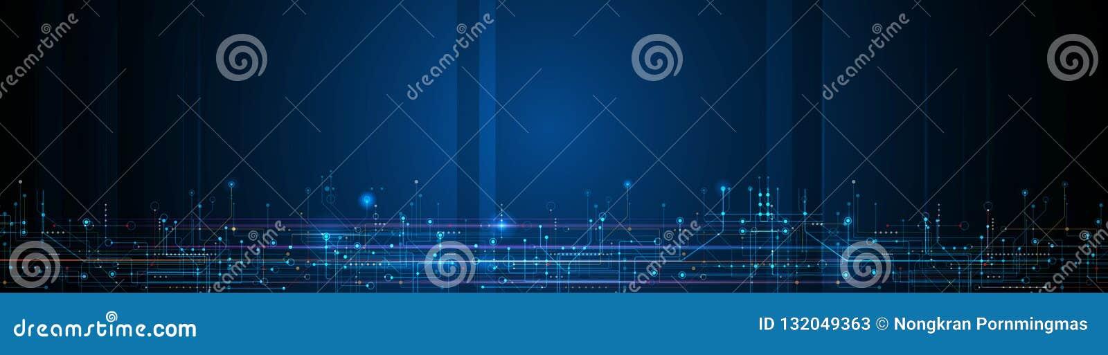 Placa de circuito do projeto da bandeira do vetor Futurista moderno do sumário da ilustração, engenharia, fundo da tecnologia