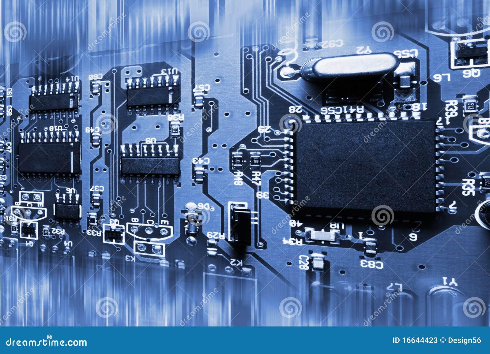Placa De Circuito Eletronico Azul Abstrata Imagem De Stock