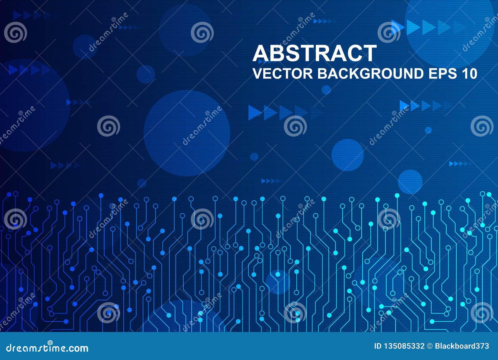 Placa de circuito futurista abstracta, concepto de alta tecnología de la tecnología digital Ilustración del vector