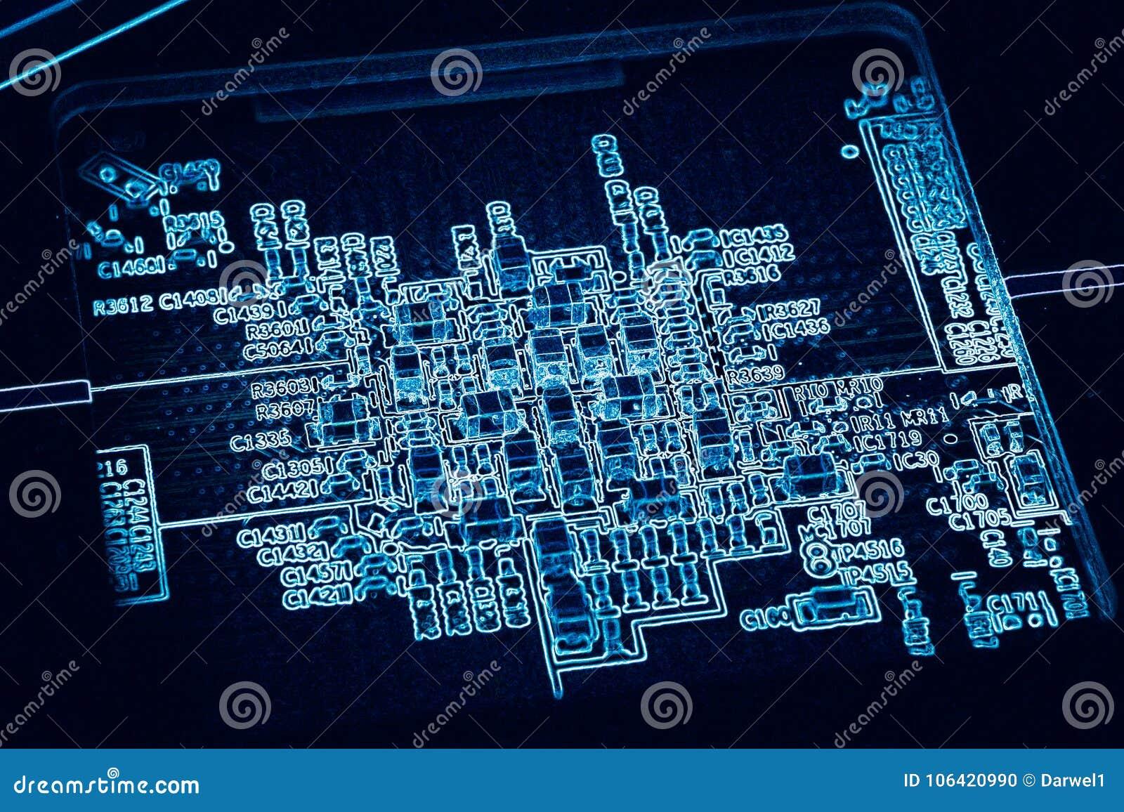 Circuito Eletronica : Placa de circuito impresso eletrônica fundo digital azul de gpu