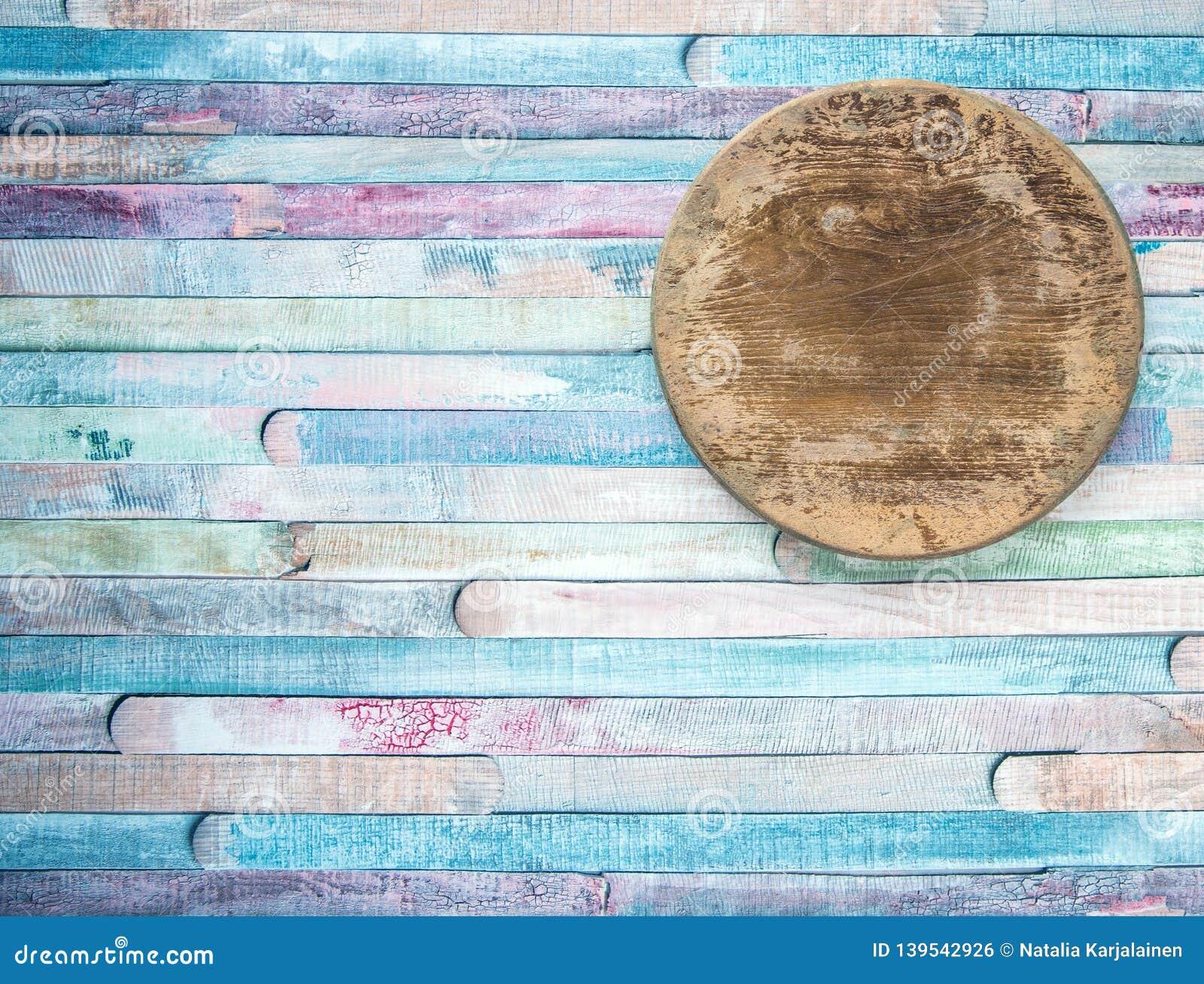 Placa de corte velha do círculo vazio do vintage no conceito do fundo do alimento das pranchas O ¡ de Ð olored o fundo velho de m