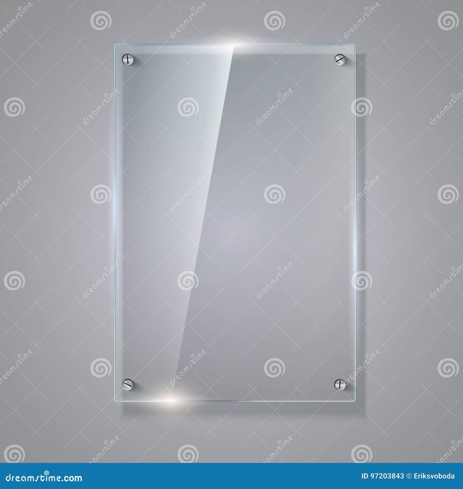 Placa De Cristal Del Vector En Blanco, Transparente Plantilla Del ...