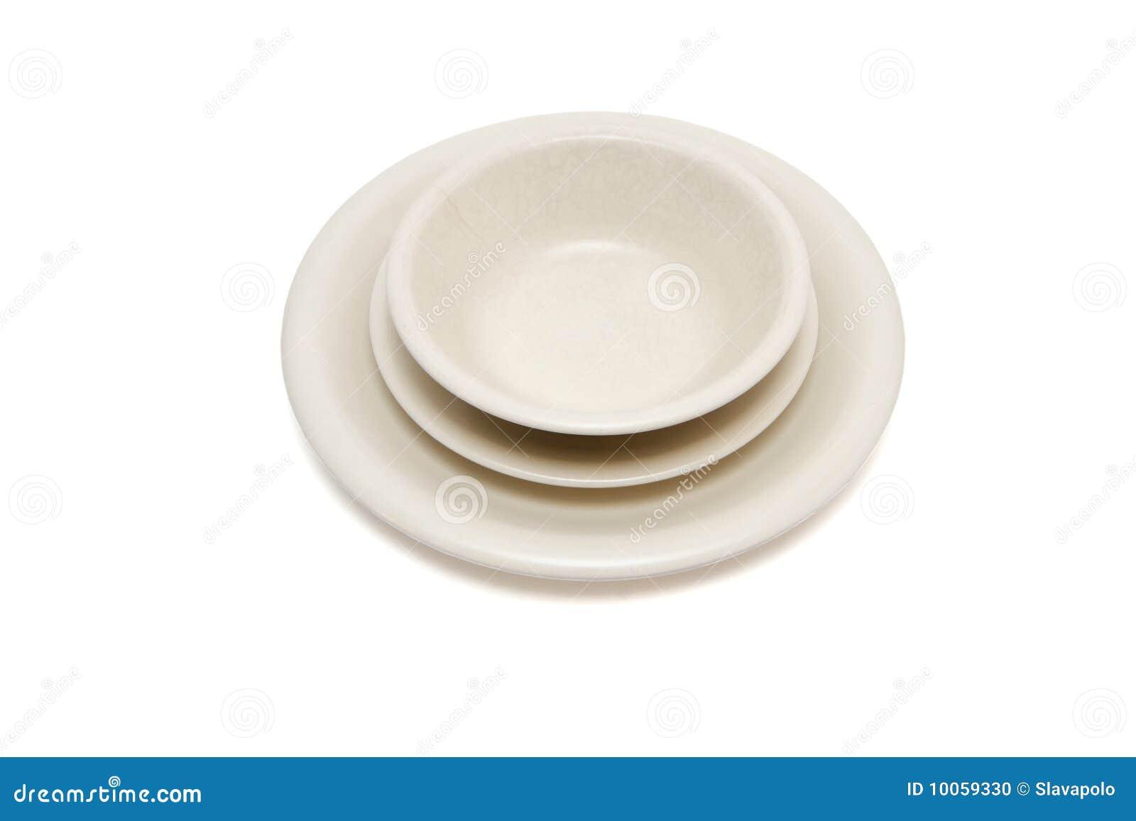 Placa de jantar bege, placa de sopa e saucer mim