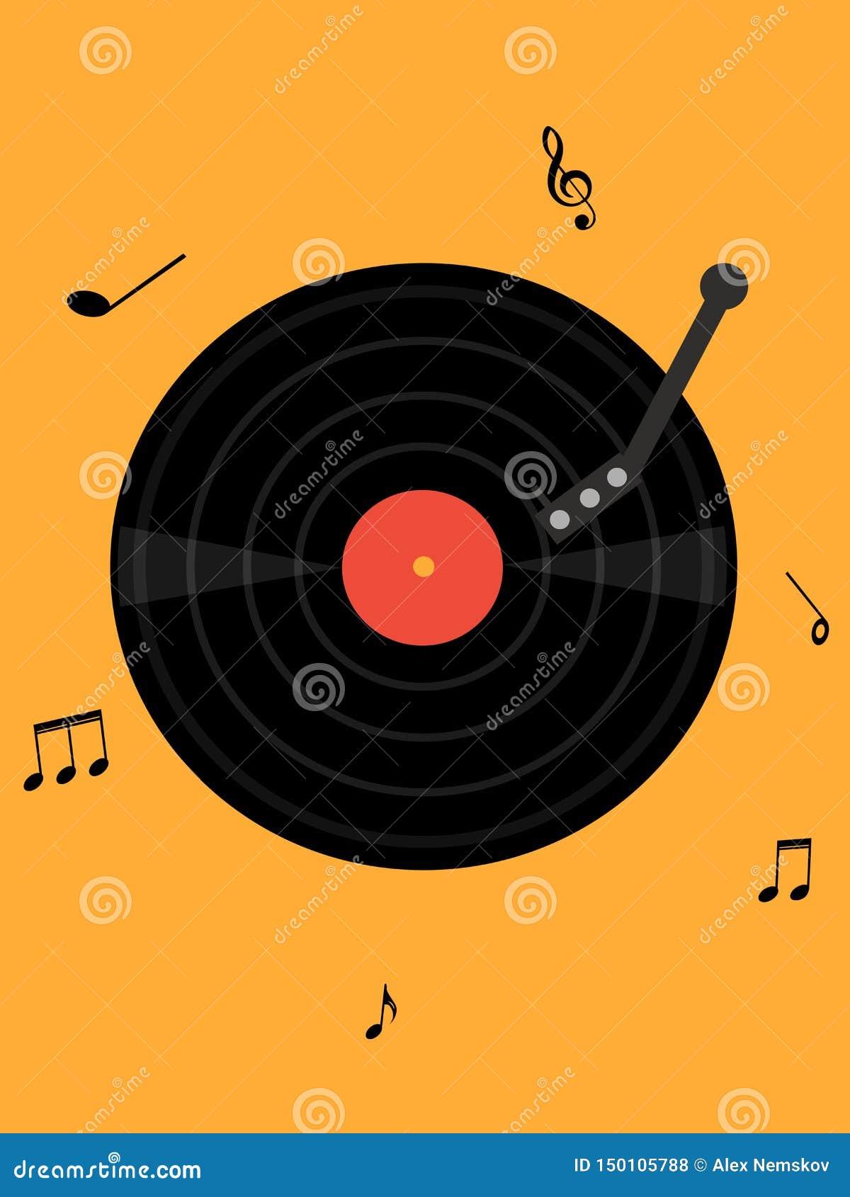 Placa de la música en fondo amarillo