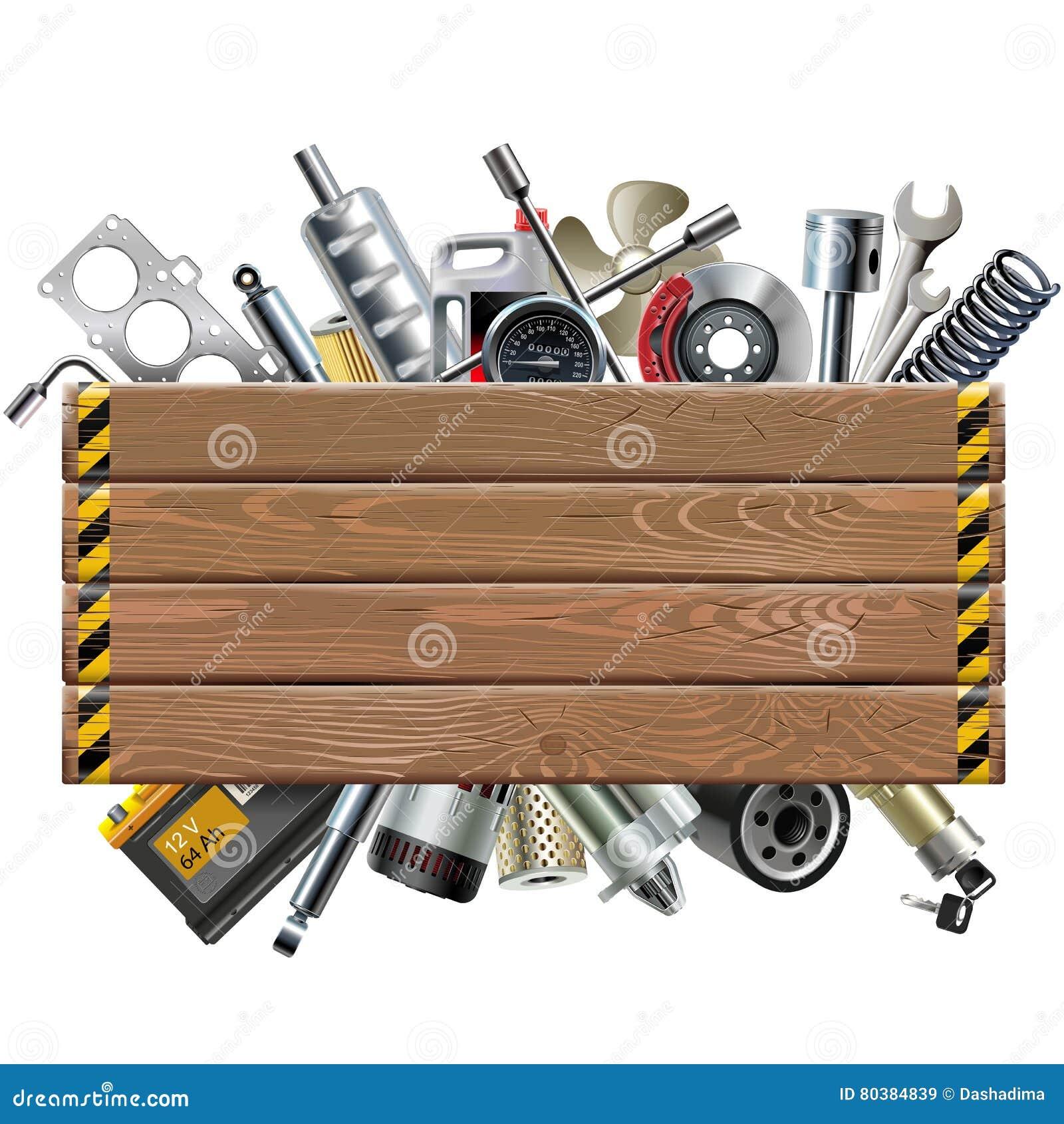 Placa de madeira do vetor com sobressalentes do carro