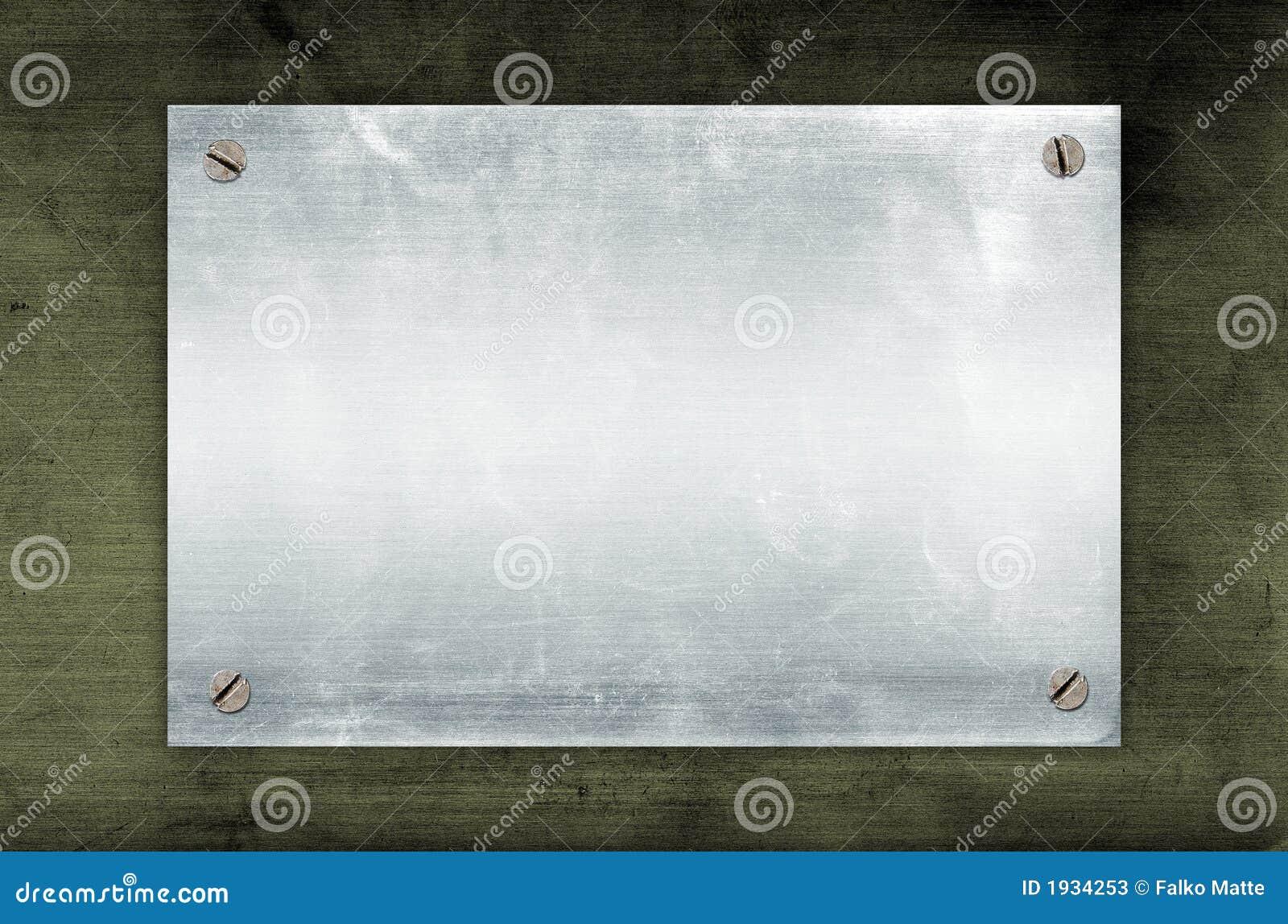 Placa de metal vazia