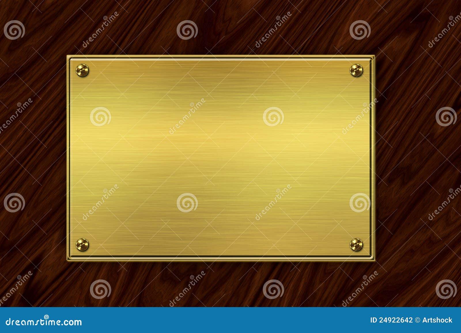 Placa de oro en la madera - Placa de madera ...