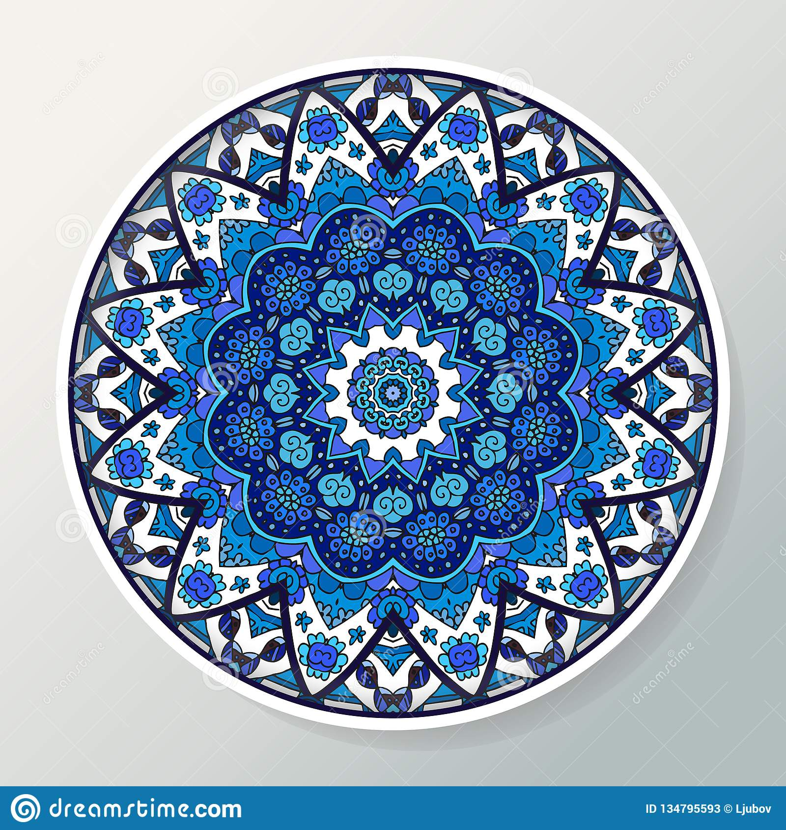 Placa decorativa com o ornamento redondo no estilo étnico Mandala em cores azuis Teste padrão oriental Ilustração do vetor