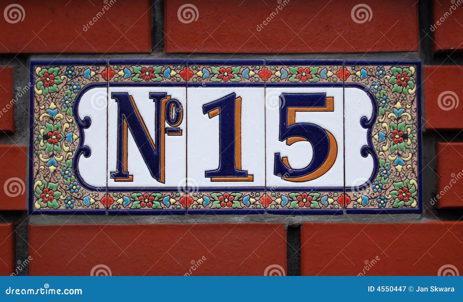 Placa Del Azulejo Del Número De Casa Con El Ornamento Floral Imagen ...