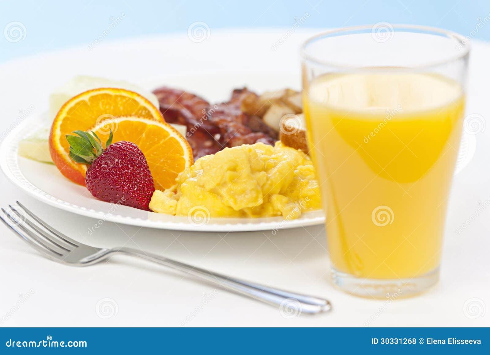 Placa del desayuno con la bifurcación