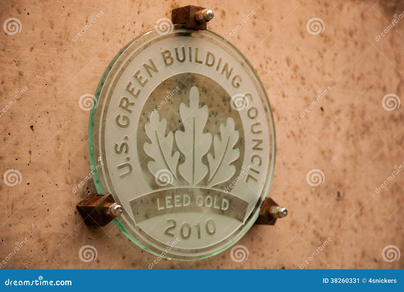 Placa del edificio del oro de Leed